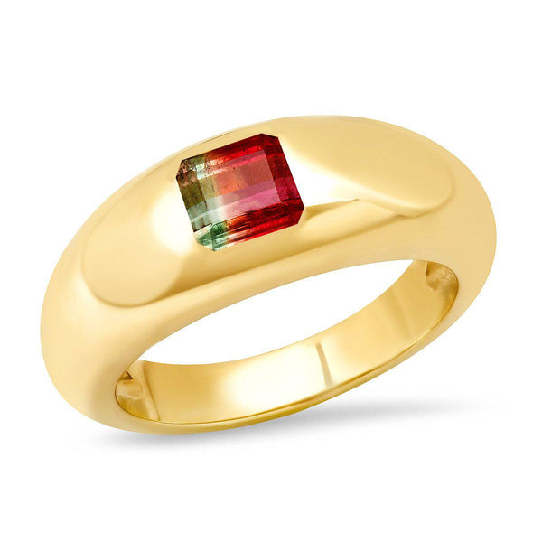 14K Yellow Gold Watermelon Tourmaline Gypsy Ring-Sig Ward-Tucci Boutique