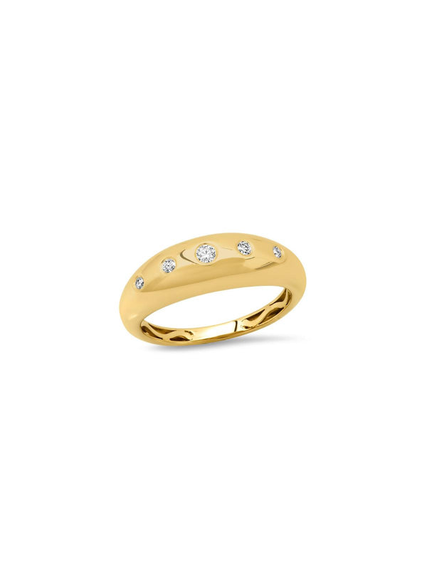 14K Yellow Gold 5 Diamond Gypsy Ring