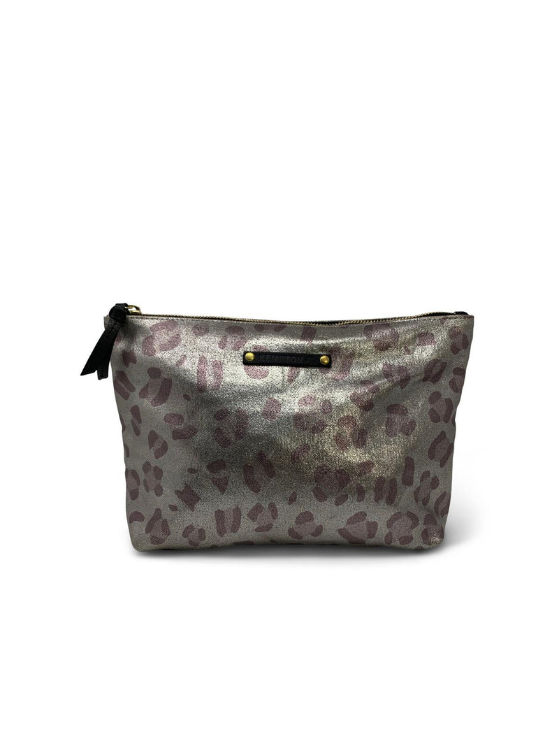 Metallic Leopard Canvas Pouch
