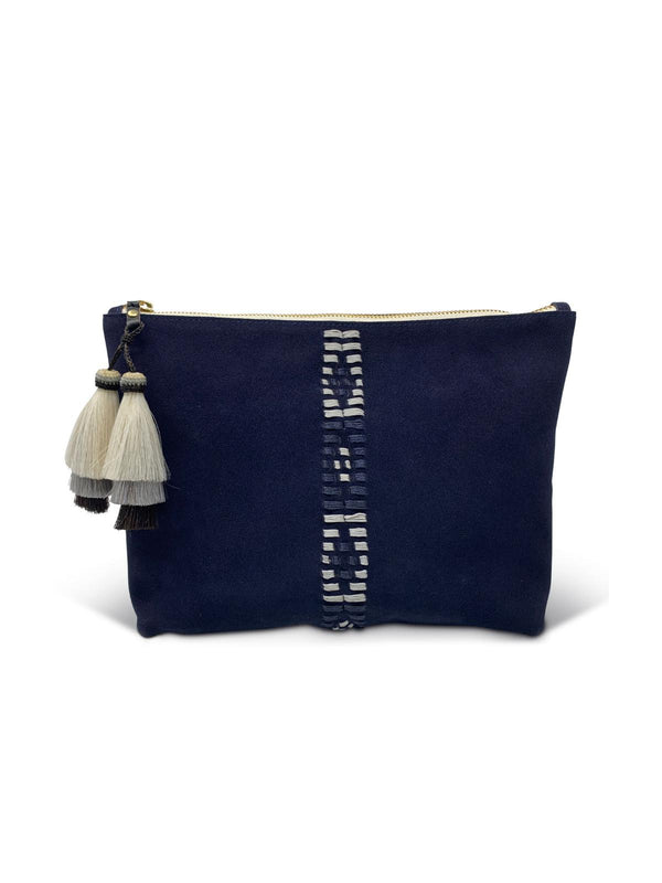 Medium Polo Pouch - Navy Suede