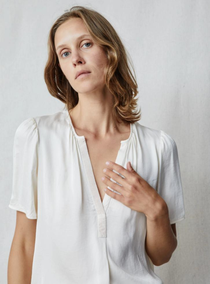 Cream Satin Grosgrain Blouse-Raquel Allegra-Tucci Boutique