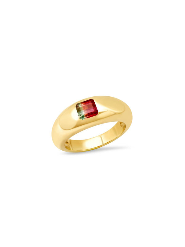 14K Yellow Gold Watermelon Tourmaline Gypsy Ring