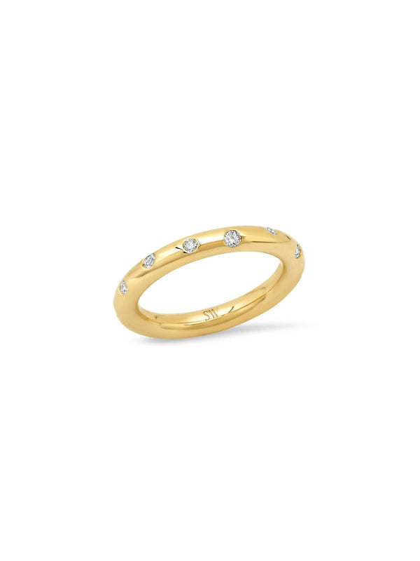 14K Yellow Gold Diamond Donut Gypsy Ring-Sig Ward-Tucci Boutique