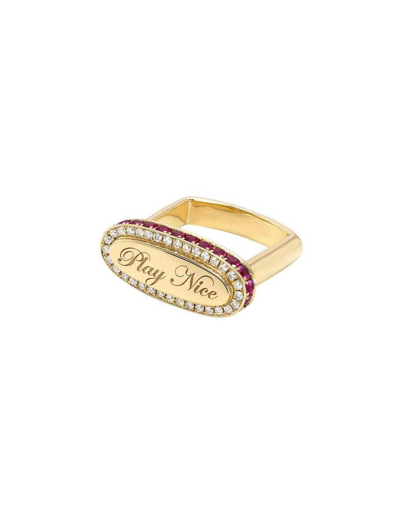 """Play Nice"" Signet Ring-DRU.-Tucci Boutique"