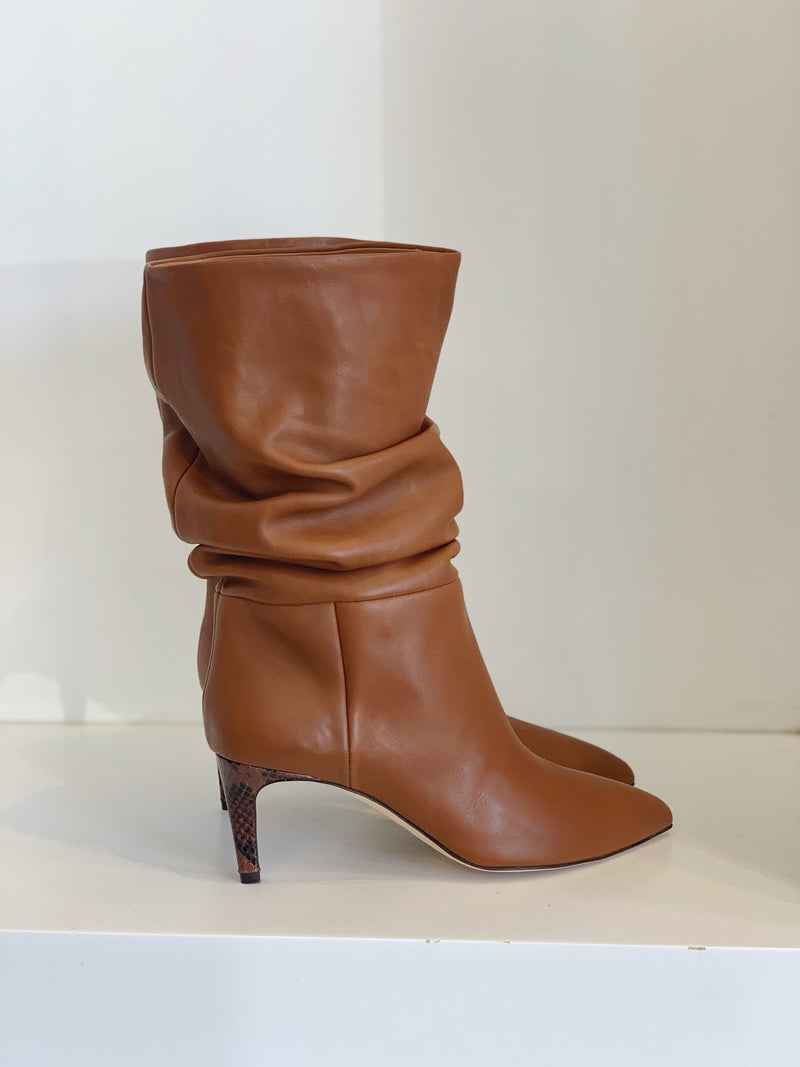 Slouchy Leather Calf Boots - Cuoio