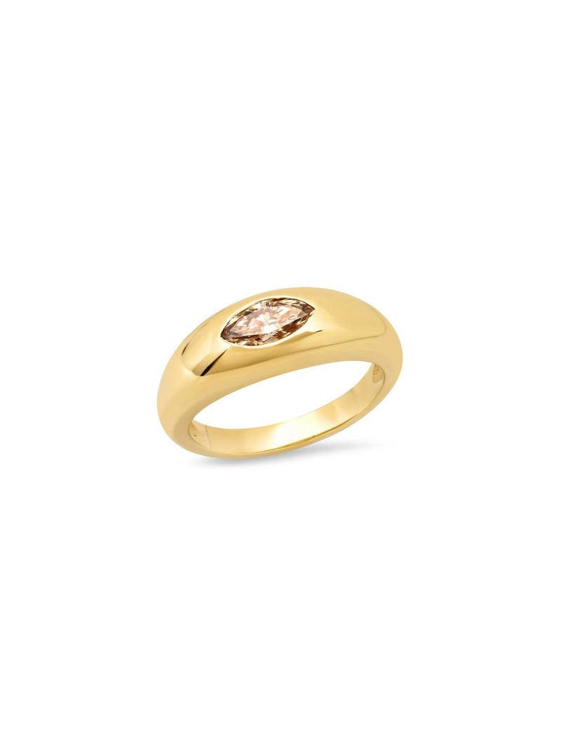 14K Yellow Gold Champagne Marquise Diamond Gypsy Ring