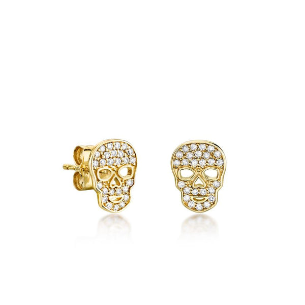 Tiny Pavé Skull Stud Earrings-Sydney Evan-Tucci Boutique