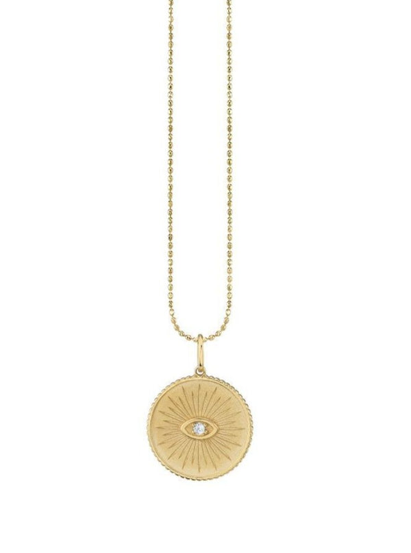 Marquis Eye Coin Necklace-Sydney Evan-Tucci Boutique
