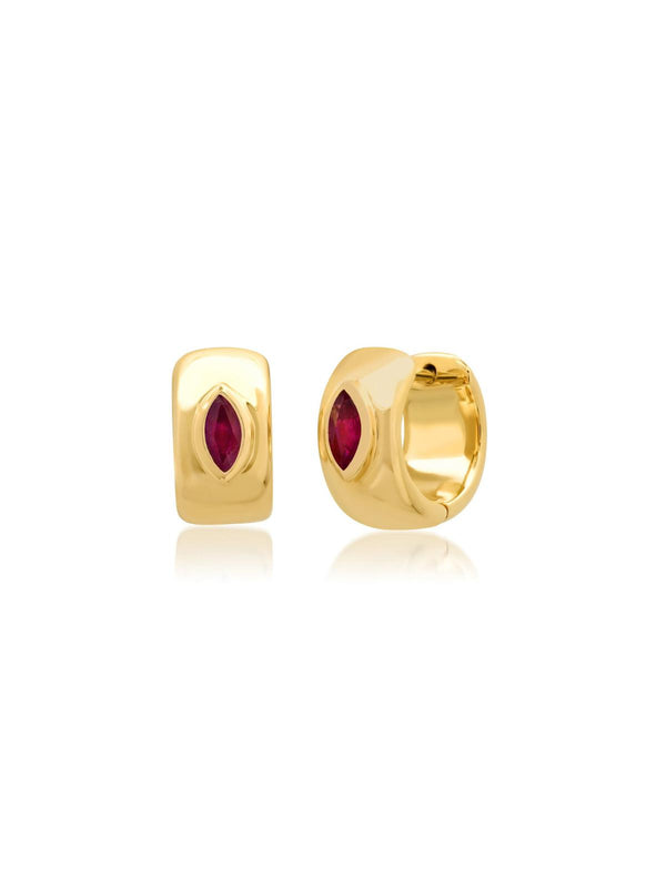 14K Yellow Gold Ruby Marquise Gypsy Huggies