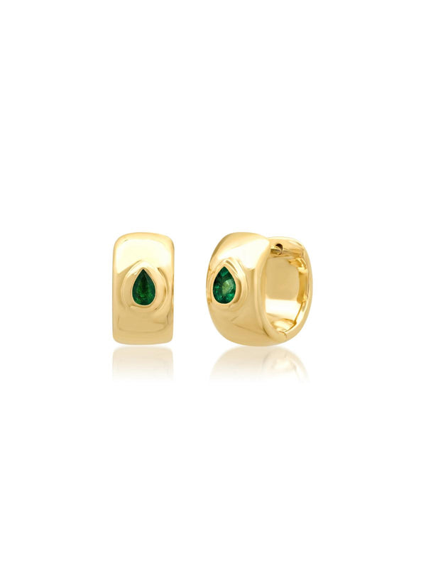 14K Yellow Gold Pear Shaped Emerald Gypsy Huggies