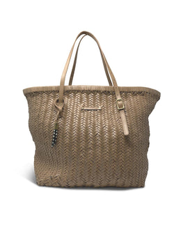Basket Weave Leather Tote - Blush
