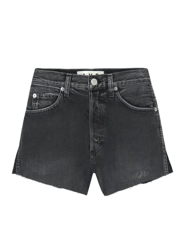Classic Cut-Off Denim Shorts - Washed Black-AMO-Tucci Boutique