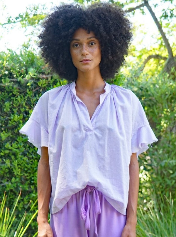 Anna Popover Shirt - Lavender-Aquarius Cocktail-Tucci Boutique