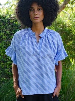 Anna Popover Shirt - Shirting Stripe-Aquarius Cocktail-Tucci Boutique
