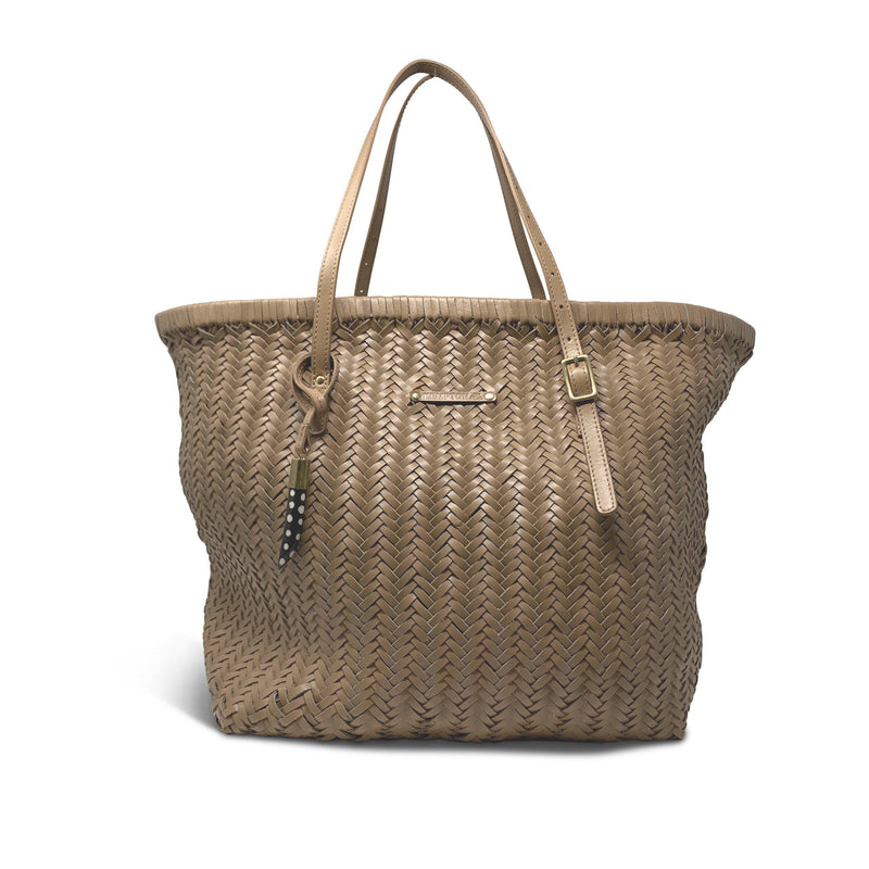 Basket Weave Leather Tote - Blush-Kempton & Co-Tucci Boutique