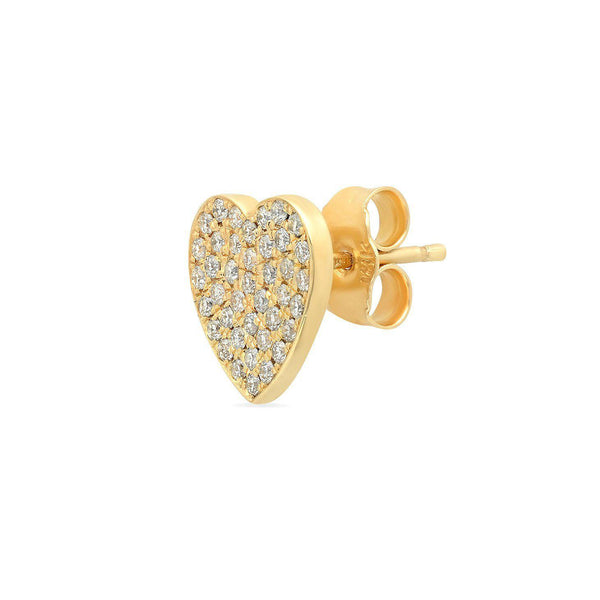 Heart Stud Earrings with Pavé Diamonds-Established-Tucci Boutique