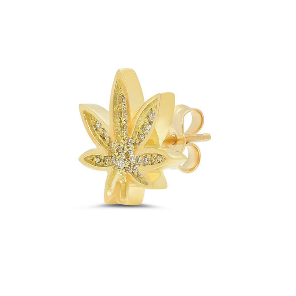 Cannabis Stud Earrings with Pavé Diamonds-Established-Tucci Boutique