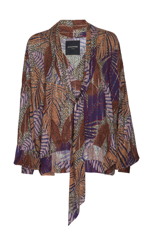 Tie Front Blouse - Purple Tropical Palm-Le Superbe California-Tucci Boutique