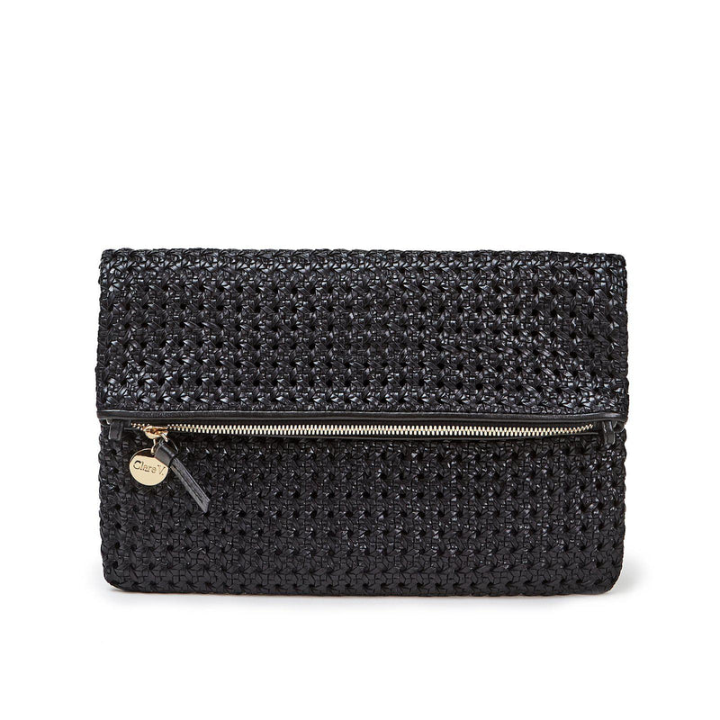 Foldover Clutch with Tabs- Black Rattan-Clare V-Tucci Boutique