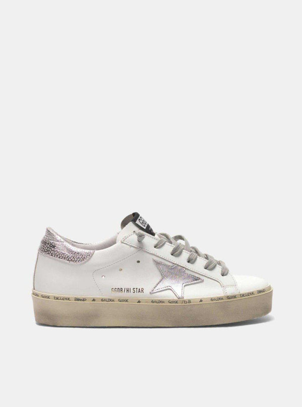 Hi Star Sneakers - White Leather & Silver Star-Golden Goose Deluxe Brand-Tucci Boutique