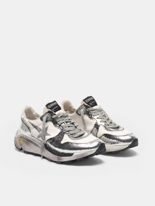 *pre-Order* Running Sole Sneakers - White & Silver-Golden Goose Deluxe Brand-Tucci Boutique
