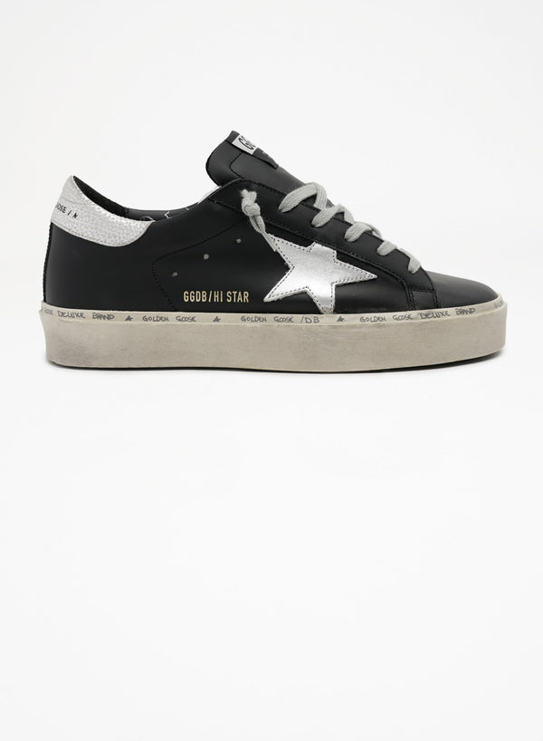 *PRE-ORDER* Hi Star Sneakers - Black Leather & Silver Star-Golden Goose Deluxe Brand-Tucci Boutique