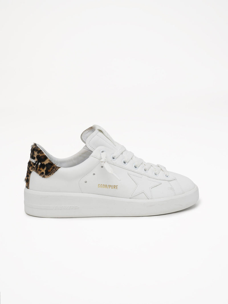 Pure Star Sneakers - White Leather & Leopard Heel Tab-Golden Goose Deluxe Brand-Tucci Boutique