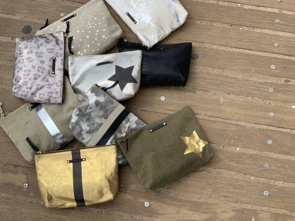 Taupe Silver Star Large Canvas Pouch-Kempton & Co-Tucci Boutique