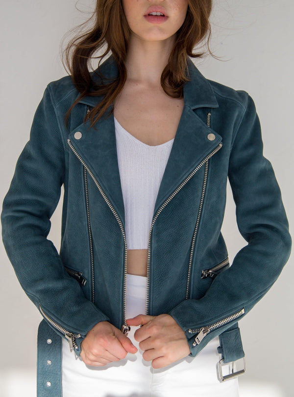 Astrid Leather Jacket - Petrol-CPHLA-Tucci Boutique