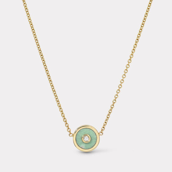 Mini Compass Necklace - Green Turquoise-Retrouvai-Tucci Boutique