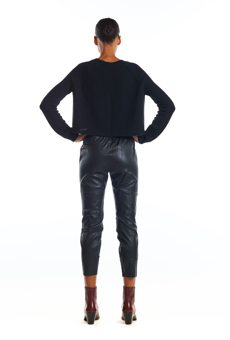 Leather Slim Jogger with Pockets - Black-SPRWMN-Tucci Boutique