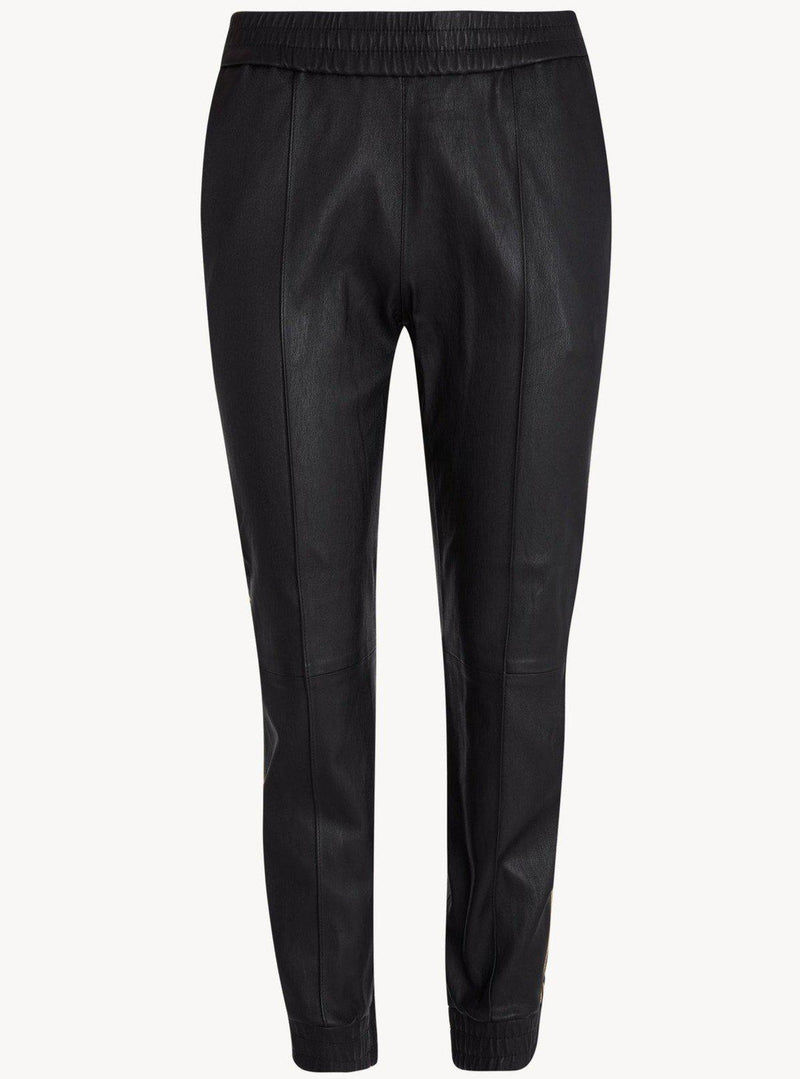 Leather Slim Fit Cuffed Jogger - Black-SPRWMN-Tucci Boutique