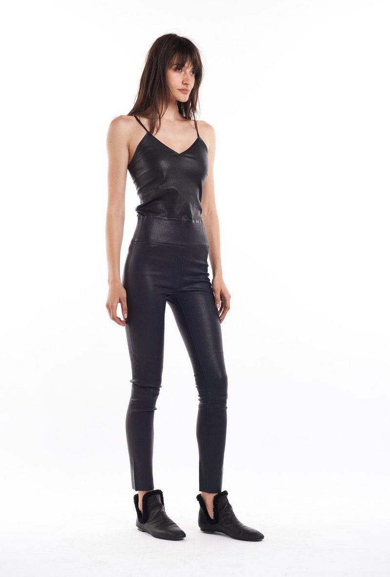 Leather Ankle Leggings - Black-SPRWMN-Tucci Boutique