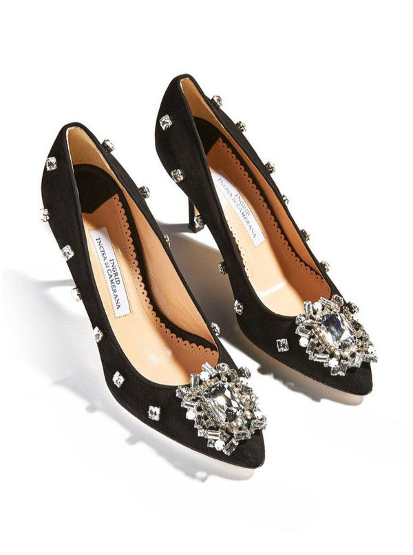 Marlene Crystal Pumps - Black-Ingrid Incisa di Camerana-Tucci Boutique