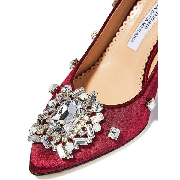 Marlene Crystal Pumps - Burgundy-Ingrid Incisa di Camerana-Tucci Boutique