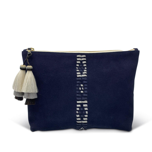 Medium Polo Pouch - Navy Suede-Kempton & Co-Tucci Boutique