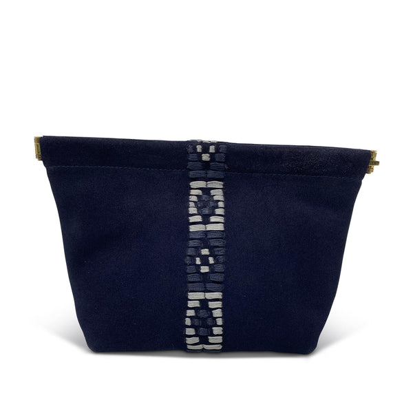 Suede Snap Makeup Bag - Navy Suede-Kempton & Co-Tucci Boutique