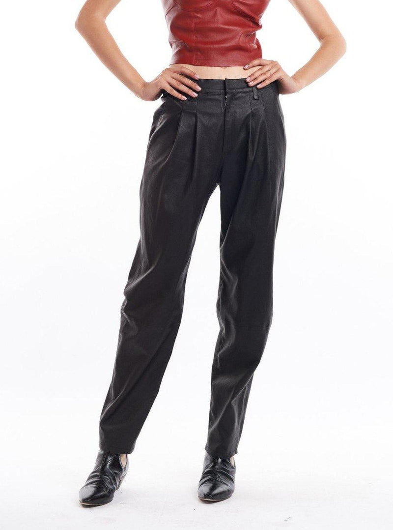 Leather Tailored Trouser - Black-SPRWMN-Tucci Boutique