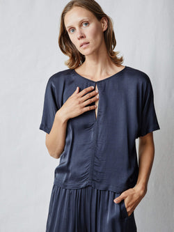 Matte Satin Lilly Top - Slate-Raquel Allegra-Tucci Boutique