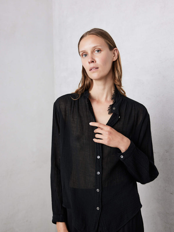 Shirred Blouse - Black Gauze Jersey Medley-Raquel Allegra-Tucci Boutique