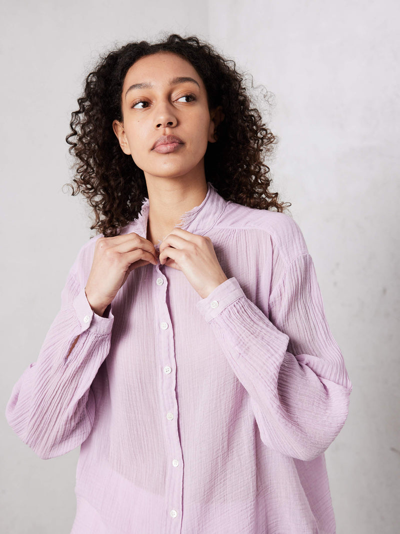 Shirred Blouse - Lavender Gauze Jersey Medley-Raquel Allegra-Tucci Boutique