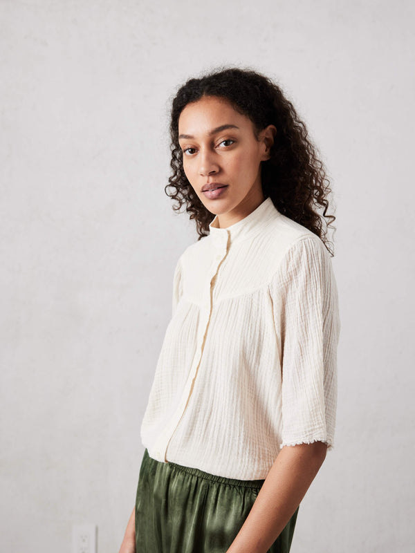 Serenity Shirt - Dirty White Gauze Jersey Medley-Raquel Allegra-Tucci Boutique