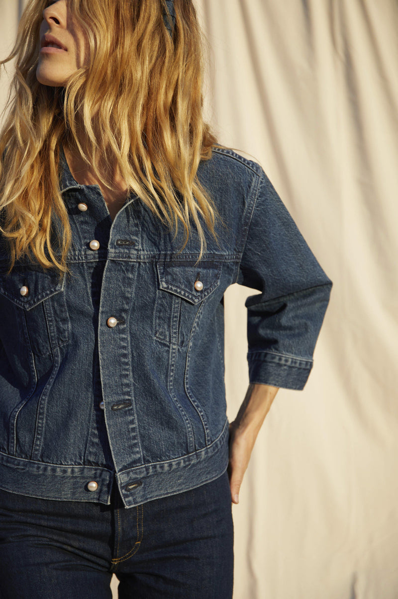 Denim Jacket with Pearl Buttons-AMO-Tucci Boutique