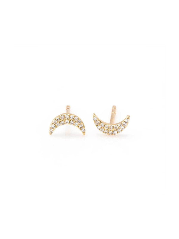 "Zofia Day ""Mini Moon"" Stud Earrings - Yellow Gold-Tucci Boutique"