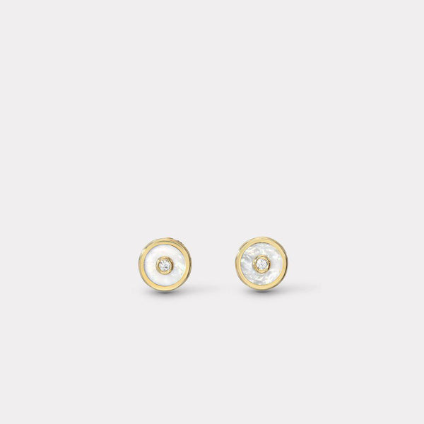 Mini Compass Stud Earrings - Mother of Pearl-Retrouvai-Tucci Boutique