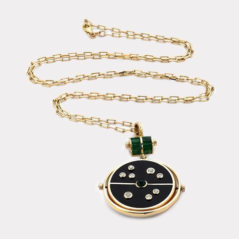 Retrouvai Grandfather Compass Pendant - Black Onyx with Emerald-Tucci Boutique