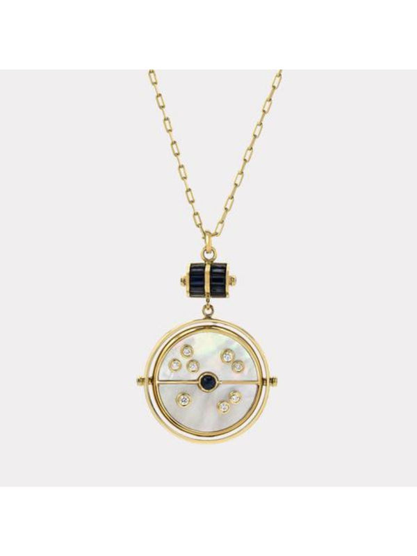 Retrouvai Grandfather Compass Pendant - Mother of Pearl with Sapphire-Tucci Boutique