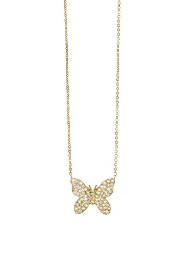 Pavé Butterfly Necklace-Sydney Evan-Tucci Boutique