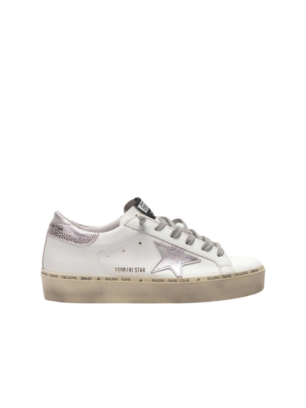 Hi Star Sneakers - White Leather & Silver Star