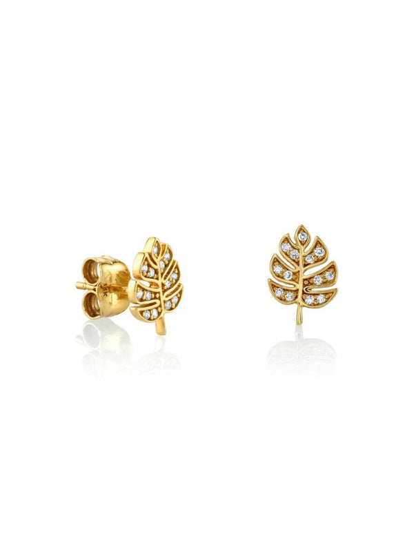 Monstera Stud Earrings-Sydney Evan-Tucci Boutique